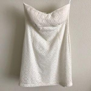 White lace strapless mini dress